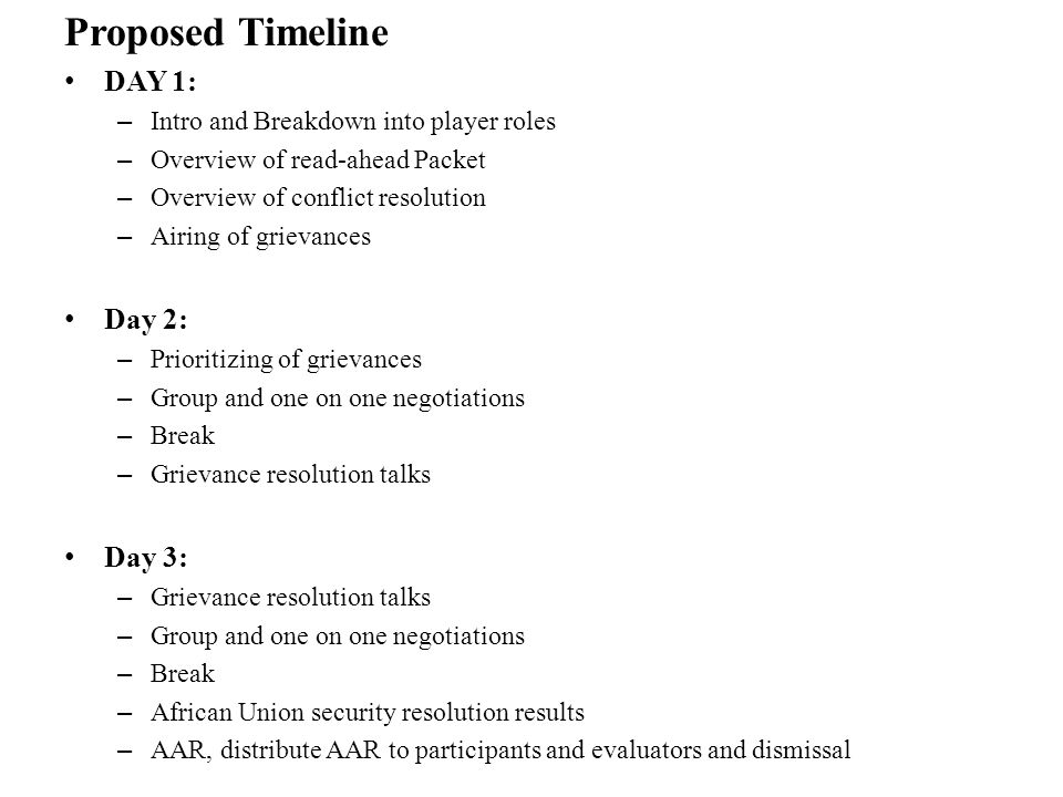 Proposed Timeline DAY 1: – Intro and Breakdown into player roles – Overview of read-ahead Packet – Overview of conflict resolution – Airing of grievances Day 2: – Prioritizing of grievances – Group and one on one negotiations – Break – Grievance resolution talks Day 3: – Grievance resolution talks – Group and one on one negotiations – Break – African Union security resolution results – AAR, distribute AAR to participants and evaluators and dismissal