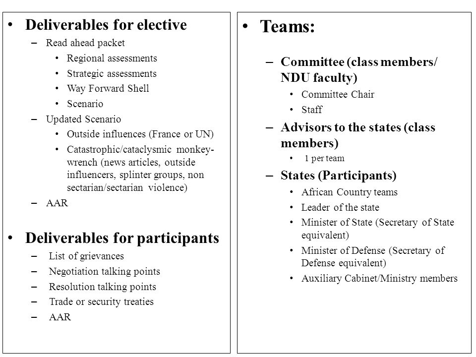Teams: – Committee (class members/ NDU faculty) Committee Chair Staff – Advisors to the states (class members) 1 per team – States (Participants) African Country teams Leader of the state Minister of State (Secretary of State equivalent) Minister of Defense (Secretary of Defense equivalent) Auxiliary Cabinet/Ministry members Deliverables for elective – Read ahead packet Regional assessments Strategic assessments Way Forward Shell Scenario – Updated Scenario Outside influences (France or UN) Catastrophic/cataclysmic monkey- wrench (news articles, outside influencers, splinter groups, non sectarian/sectarian violence) – AAR Deliverables for participants – List of grievances – Negotiation talking points – Resolution talking points – Trade or security treaties – AAR