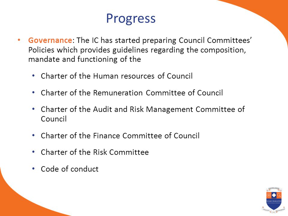 Progress Governance: The IC has started preparing Council Committees' Policies which provides guidelines regarding the composition, mandate and functi
