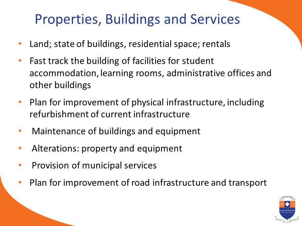 Properties, Buildings and Services Land; state of buildings, residential space; rentals Fast track the building of facilities for student accommodatio