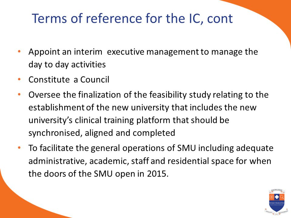 Terms of reference for the IC, cont Appoint an interim executive management to manage the day to day activities Constitute a Council Oversee the final