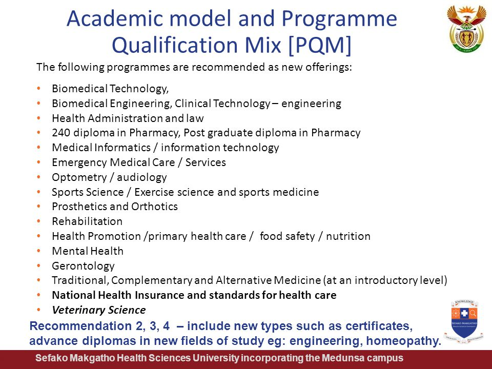 Academic model and Programme Qualification Mix [PQM] Sefako Makgatho Health Sciences University incorporating the Medunsa campus The following program
