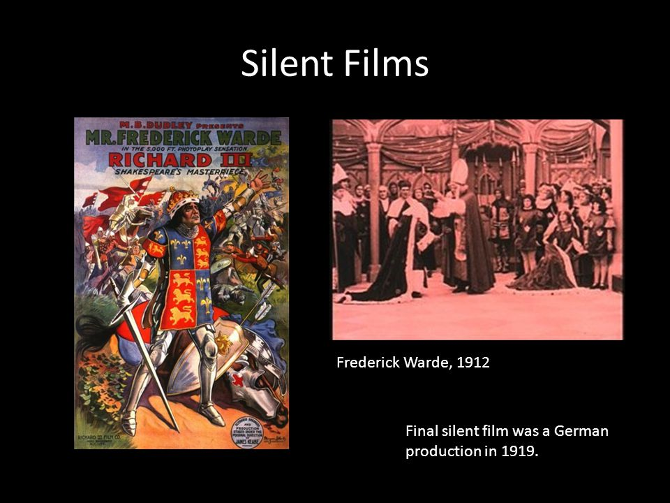 Silent Films Frederick Warde, 1912 Final silent film was a German production in 1919.