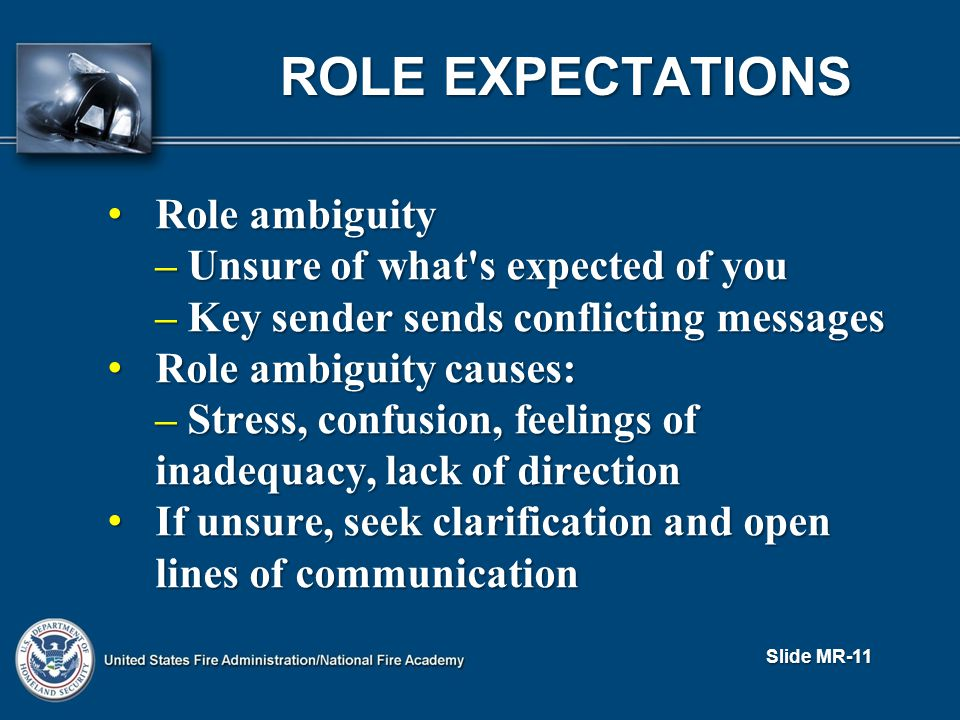 ROLE EXPECTATIONS Role ambiguity Role ambiguity – Unsure of what s expected of you – Key sender sends conflicting messages Role ambiguity causes: Role ambiguity causes: – Stress, confusion, feelings of inadequacy, lack of direction If unsure, seek clarification and open lines of communication If unsure, seek clarification and open lines of communication Slide MR-11
