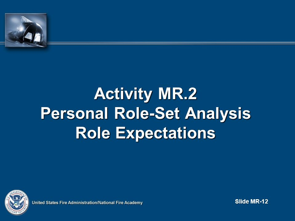 Slide MR-12 Activity MR.2 Personal Role-Set Analysis Role Expectations