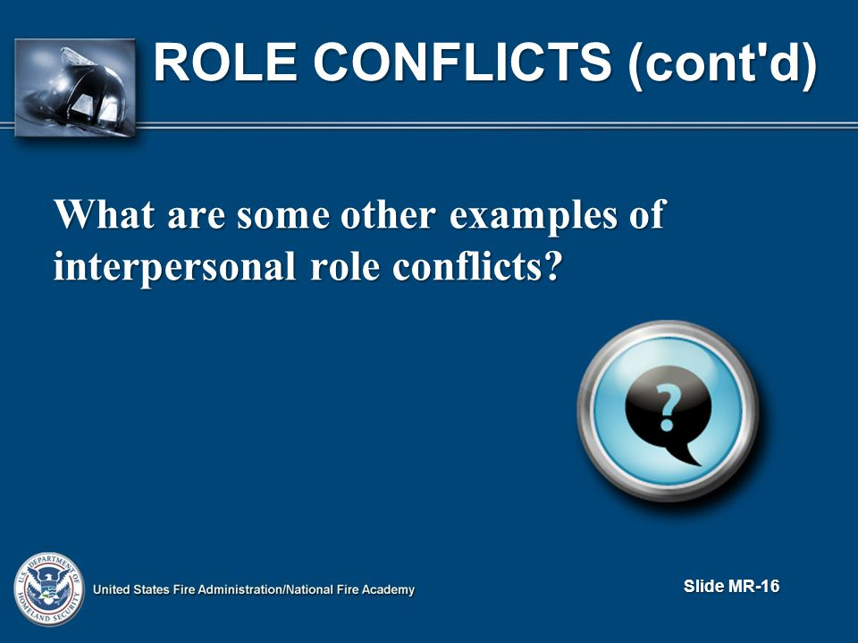 What are some other examples of interpersonal role conflicts ROLE CONFLICTS (cont d) Slide MR-16