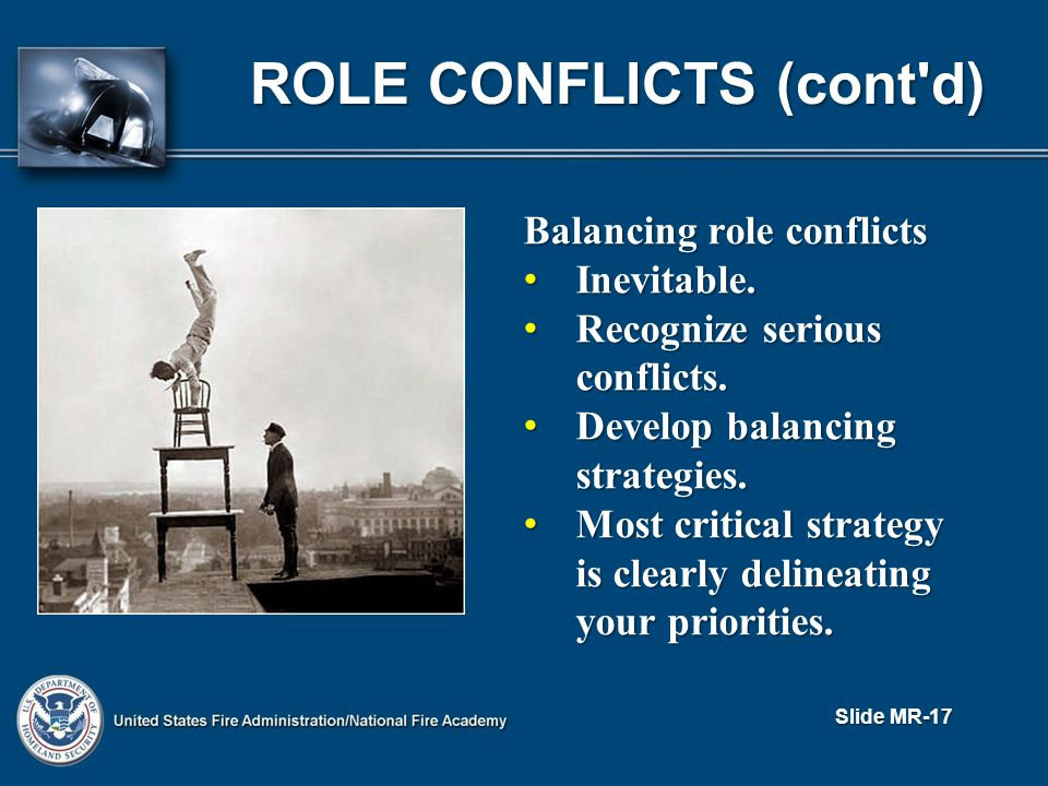 ROLE CONFLICTS (cont d) Balancing role conflicts Inevitable.