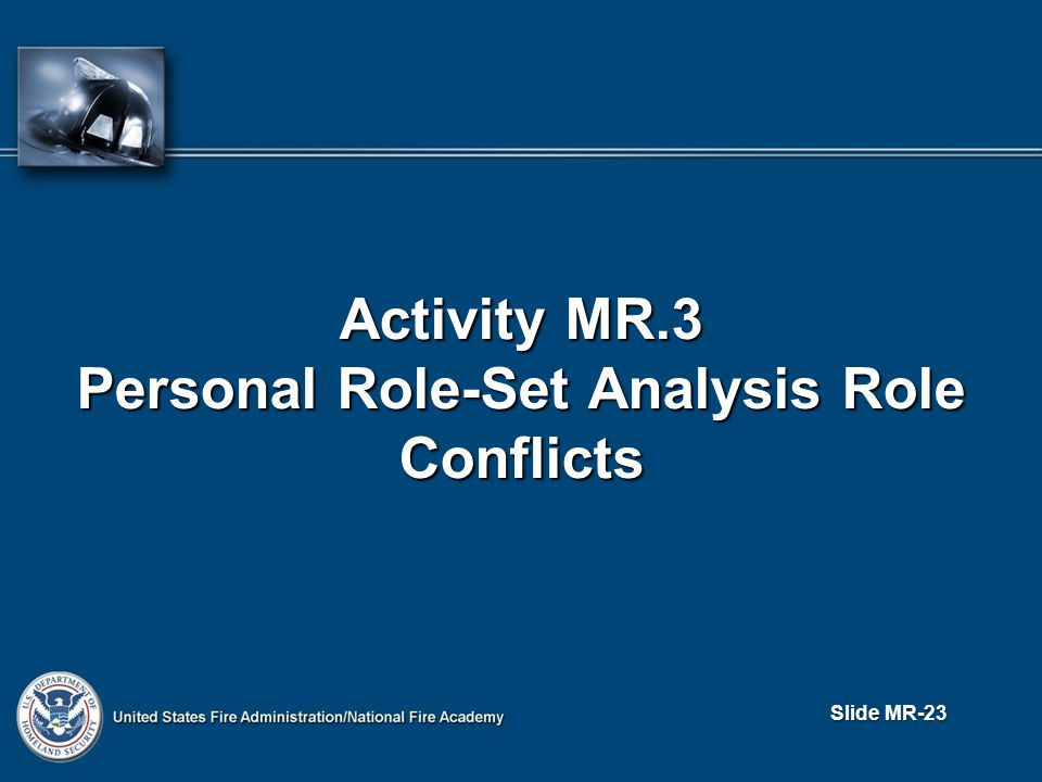 Slide MR-23 Activity MR.3 Personal Role-Set Analysis Role Conflicts
