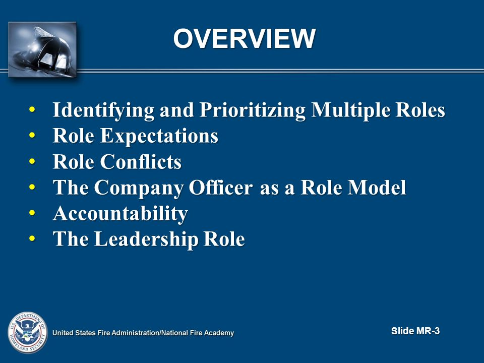 OVERVIEW Identifying and Prioritizing Multiple Roles Identifying and Prioritizing Multiple Roles Role Expectations Role Expectations Role Conflicts Role Conflicts The Company Officer as a Role Model The Company Officer as a Role Model Accountability Accountability The Leadership Role The Leadership Role Slide MR-3