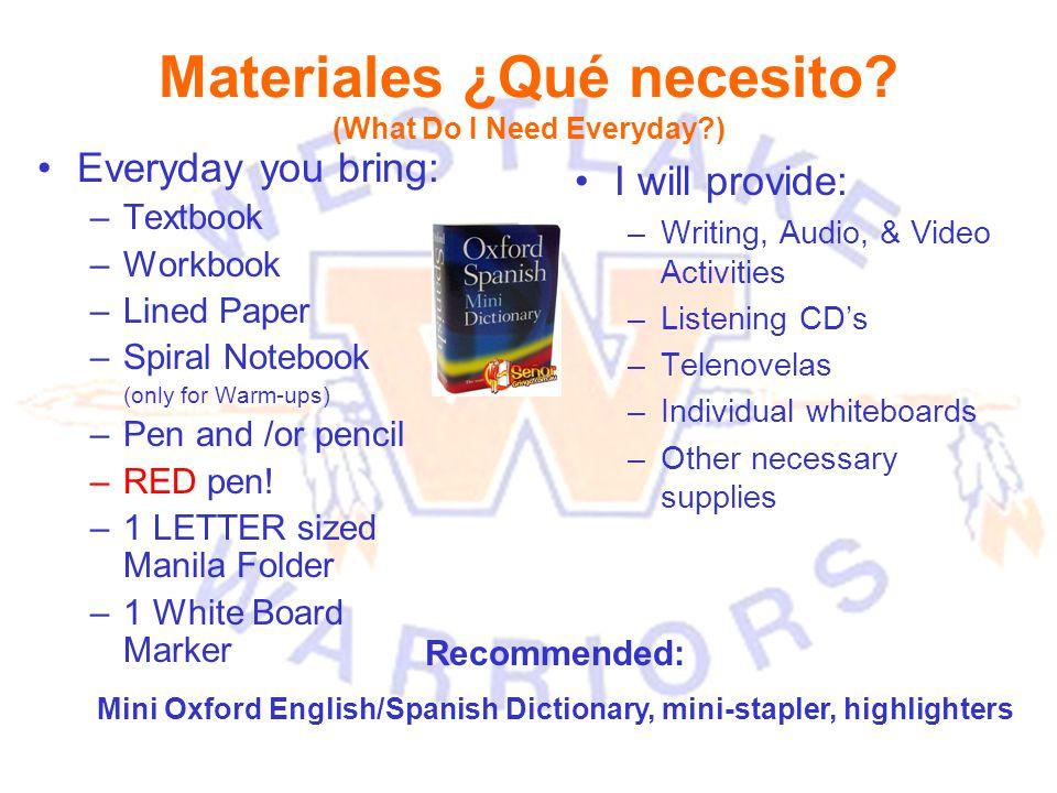 Materiales ¿Qué necesito.