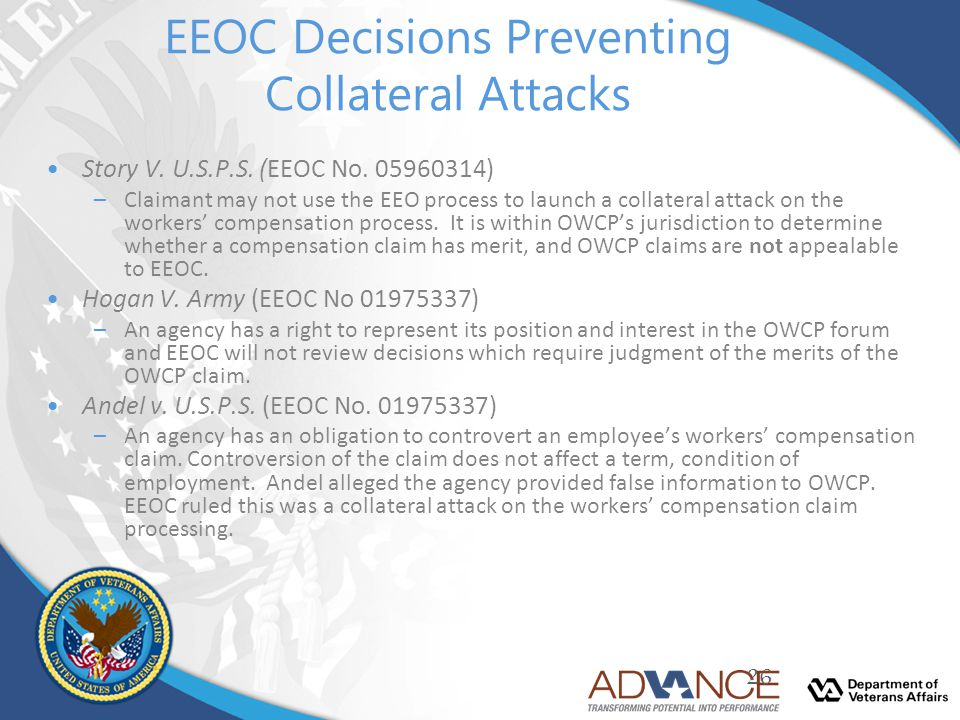 EEOC Decisions Preventing Collateral Attacks Story V. U.S.P.S. (EEOC No. 05960314) –Claimant may not use the EEO process to launch a collateral attack