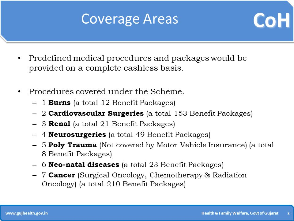 CoH 3 3 www.gujhealth.gov.inHealth & Family Welfare, Govt of Gujarat Coverage Areas Predefined medical procedures and packages would be provided on a complete cashless basis.