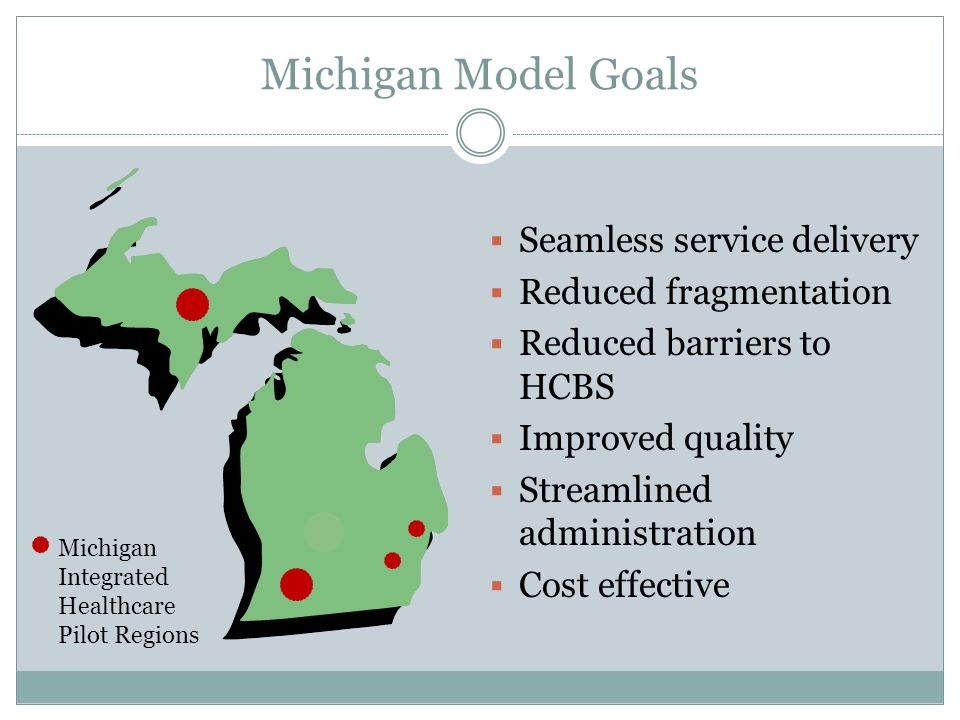 Michigan Model Goals  Seamless service delivery  Reduced fragmentation  Reduced barriers to HCBS  Improved quality  Streamlined administration 