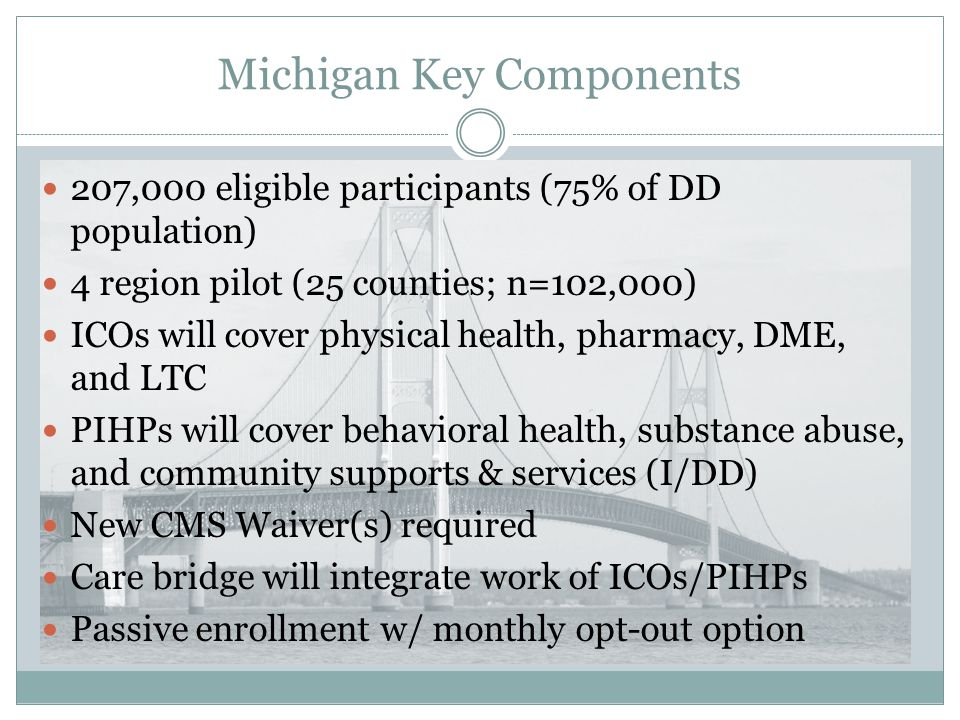 Michigan Key Components 207,000 eligible participants (75% of DD population) 4 region pilot (25 counties; n=102,000) ICOs will cover physical health,