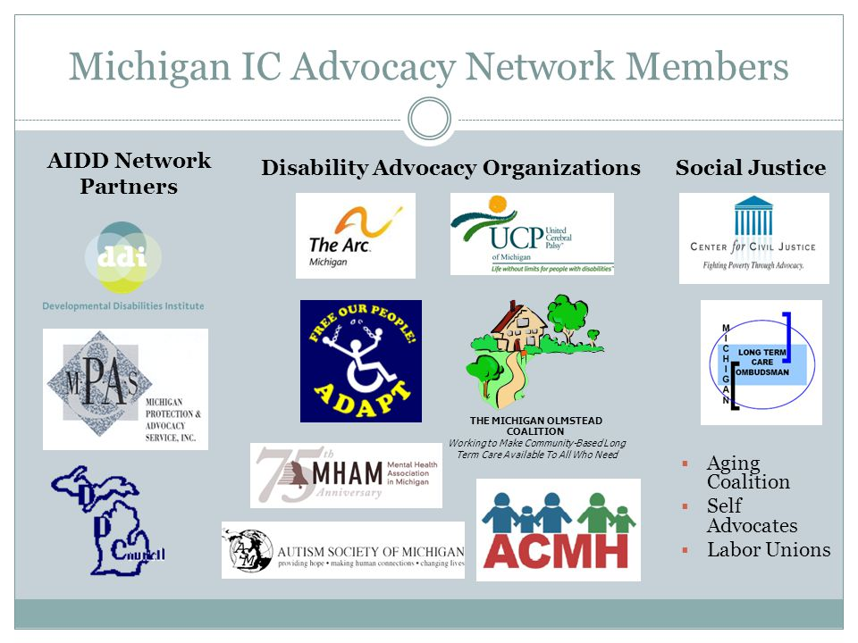Michigan IC Advocacy Network Members Social Justice AIDD Network Partners Disability Advocacy Organizations THE MICHIGAN OLMSTEAD COALITION Working to