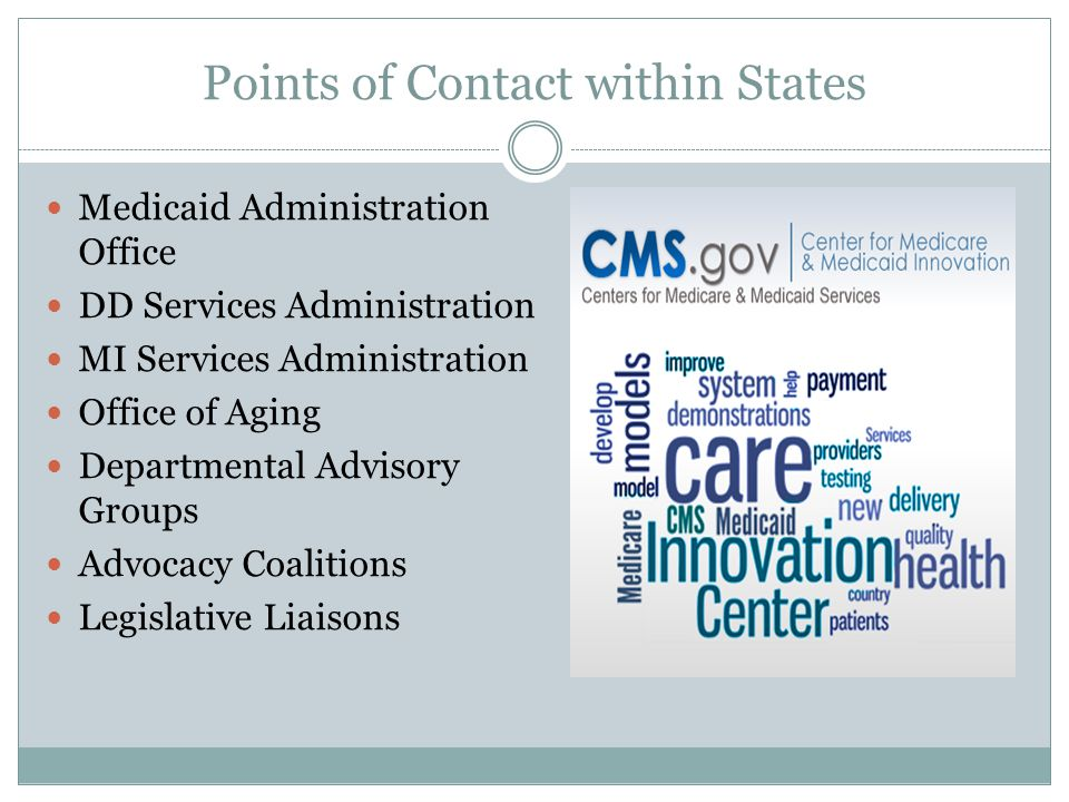 Points of Contact within States Medicaid Administration Office DD Services Administration MI Services Administration Office of Aging Departmental Advi
