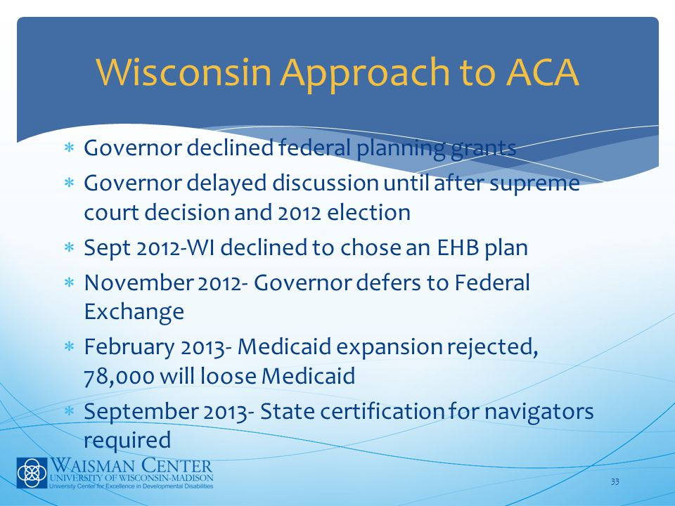  Governor declined federal planning grants  Governor delayed discussion until after supreme court decision and 2012 election  Sept 2012-WI declined