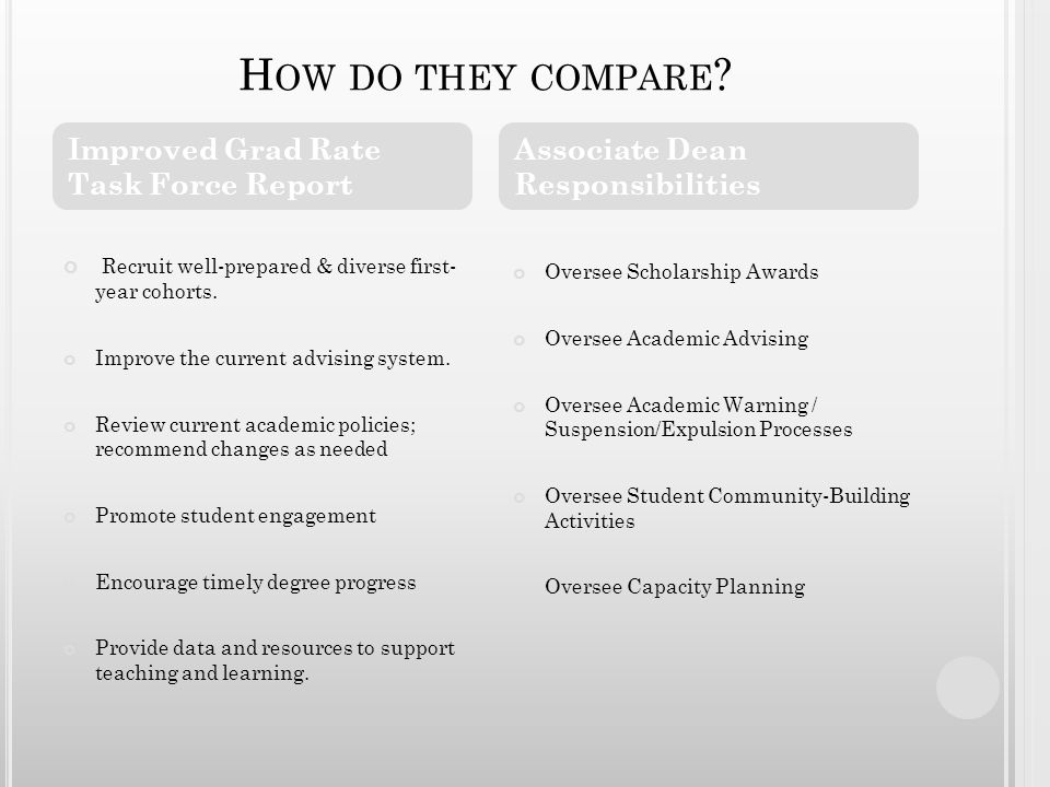 H OW DO THEY COMPARE . Recruit well-prepared & diverse first- year cohorts.