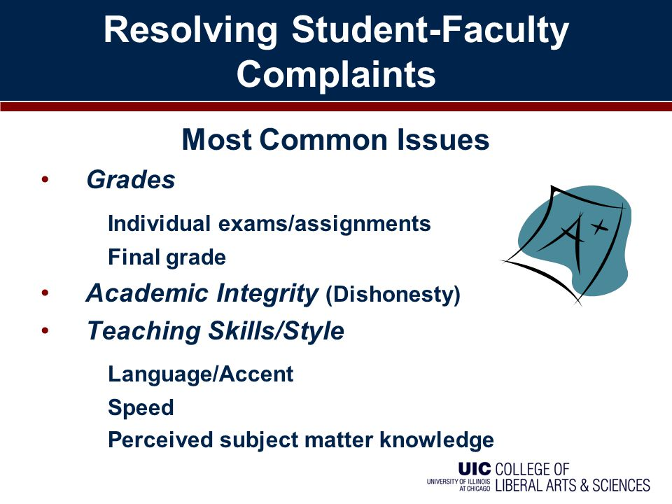 Resolving Student-Faculty Complaints Most Common Issues Grades Individual exams/assignments Final grade Academic Integrity (Dishonesty) Teaching Skill