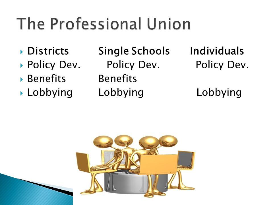  DistrictsSingle Schools Individuals  Policy Dev.