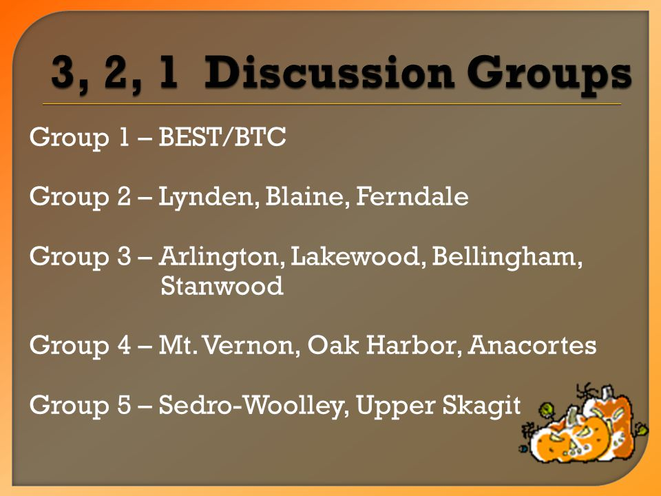 Group 1 – BEST/BTC Group 2 – Lynden, Blaine, Ferndale Group 3 – Arlington, Lakewood, Bellingham, Stanwood Group 4 – Mt.