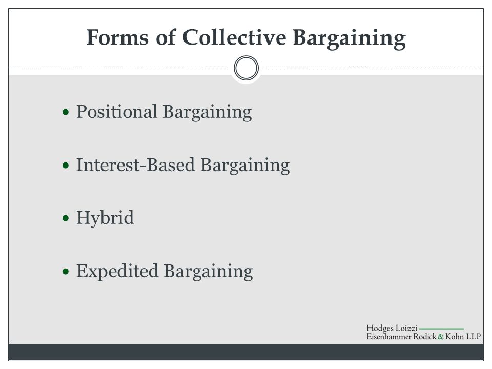 Forms of Collective Bargaining Positional Bargaining Interest-Based Bargaining Hybrid Expedited Bargaining