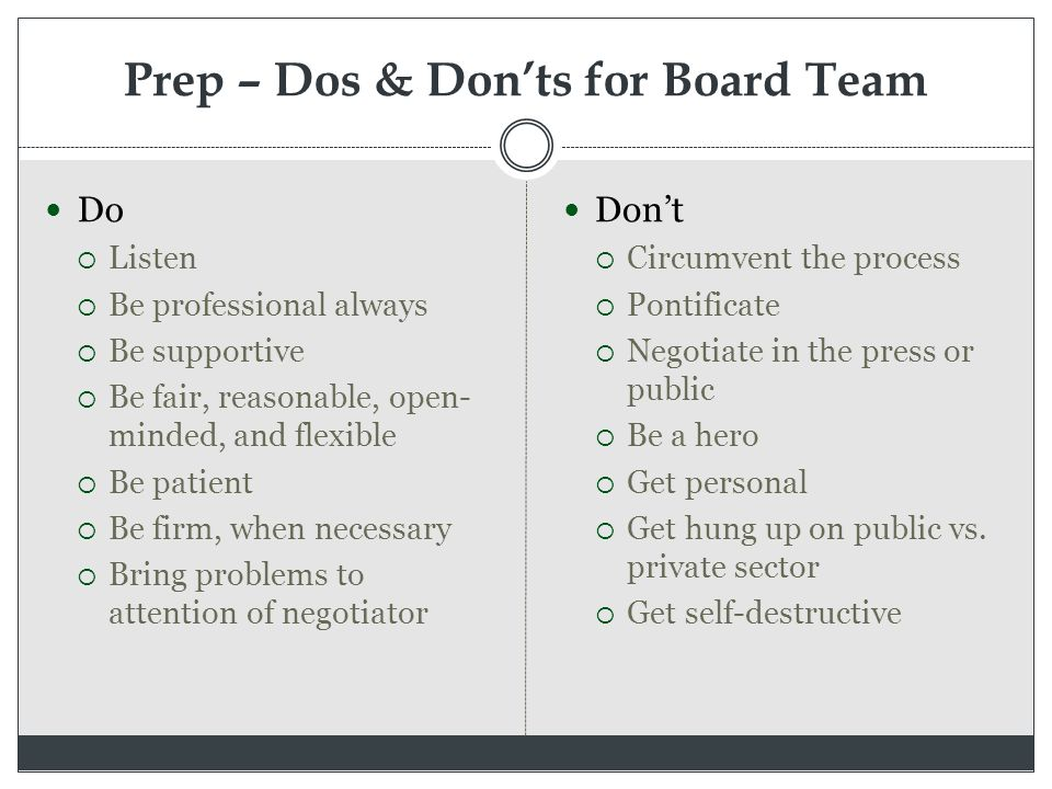 Prep – Dos & Don'ts for Board Team Do  Listen  Be professional always  Be supportive  Be fair, reasonable, open- minded, and flexible  Be patient