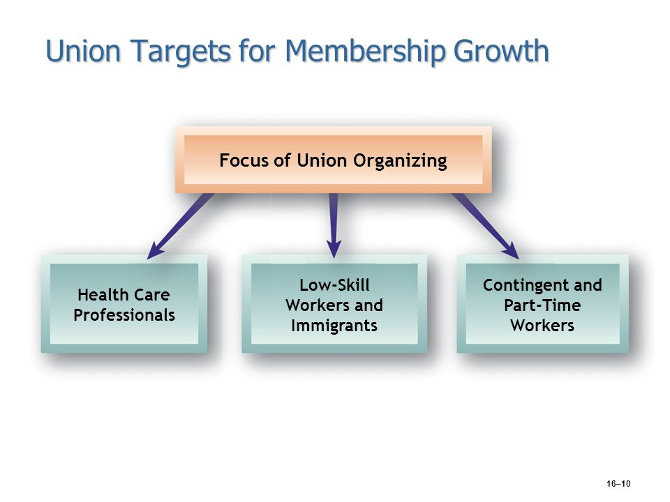 16–10 Union Targets for Membership Growth Focus of Union Organizing Health Care Professionals Low-Skill Workers and Immigrants Contingent and Part-Tim