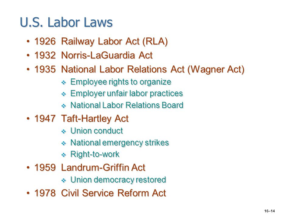 16–14 U.S. Labor Laws 1926Railway Labor Act (RLA)1926Railway Labor Act (RLA) 1932Norris-LaGuardia Act1932Norris-LaGuardia Act 1935National Labor Relat