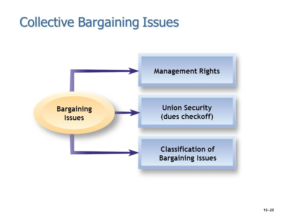 16–28 Collective Bargaining Issues Management Rights Union Security (dues checkoff) Classification of Bargaining Issues Bargaining Issues