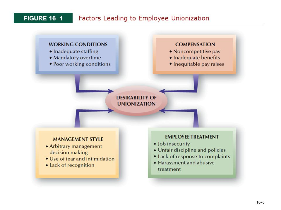 16–3 FIGURE 16–1 Factors Leading to Employee Unionization