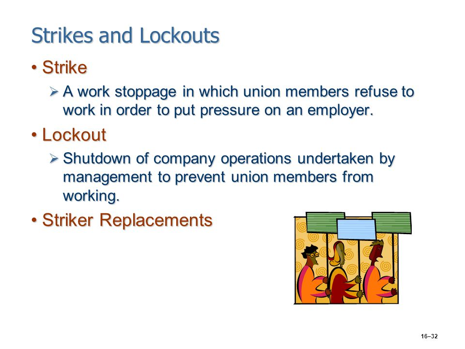 16–32 Strikes and Lockouts StrikeStrike  A work stoppage in which union members refuse to work in order to put pressure on an employer. LockoutLockou