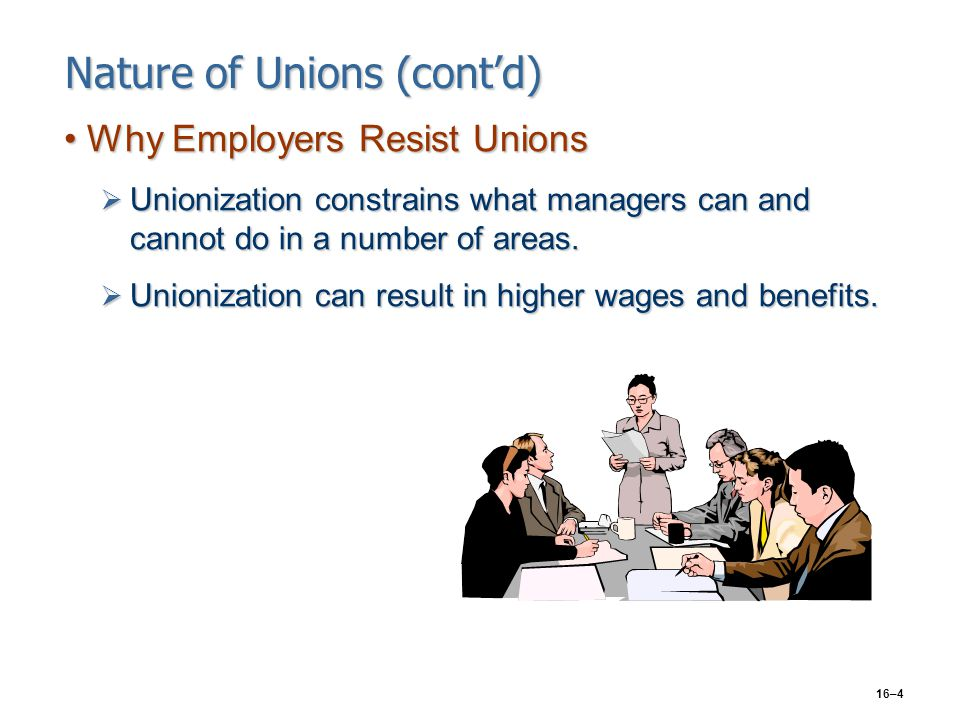 16–4 Nature of Unions (cont'd) Why Employers Resist UnionsWhy Employers Resist Unions  Unionization constrains what managers can and cannot do in a n