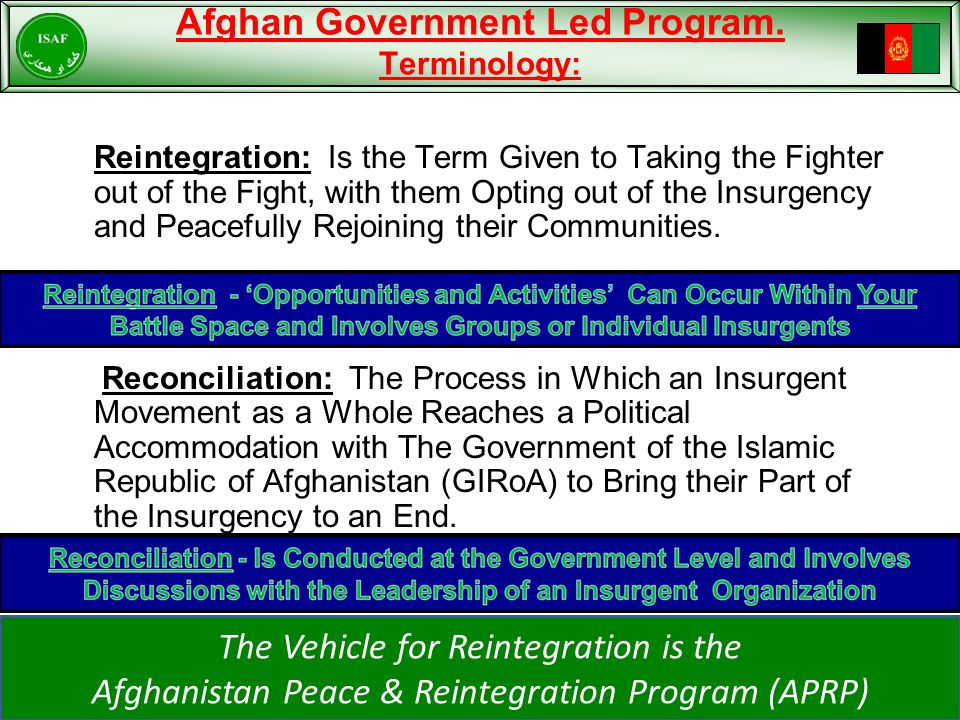 Afghan Government Led Program.