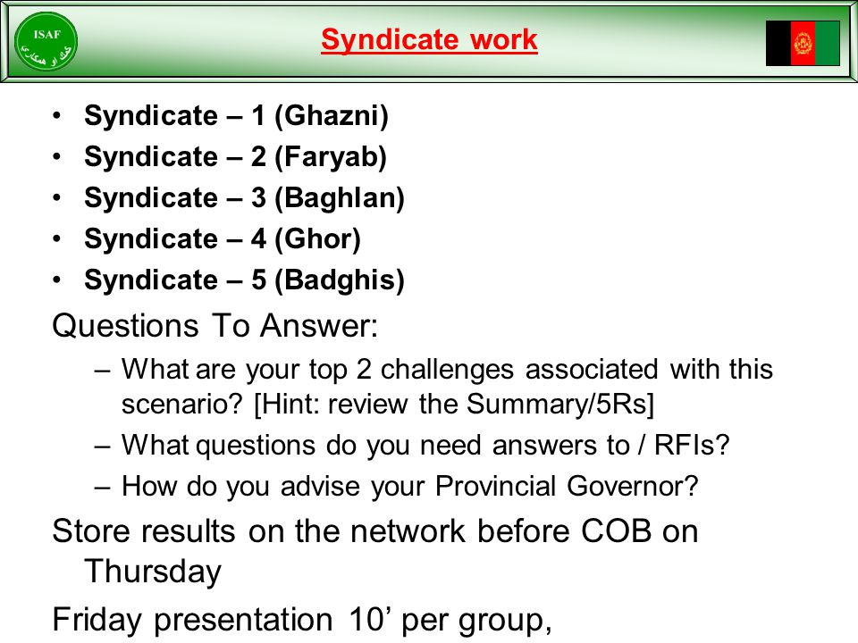 Syndicate work Syndicate – 1 (Ghazni) Syndicate – 2 (Faryab) Syndicate – 3 (Baghlan) Syndicate – 4 (Ghor) Syndicate – 5 (Badghis) Questions To Answer: –What are your top 2 challenges associated with this scenario.