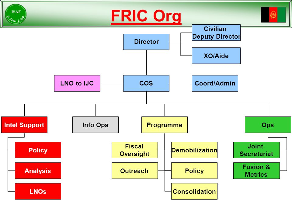 FRIC Org LNO to IJC Civilian Deputy Director Coord/Admin Intel SupportInfo OpsProgrammeOps Director Policy Analysis LNOs Fiscal Oversight Outreach Demobilization Consolidation Policy Joint Secretariat Fusion & Metrics XO/Aide COS