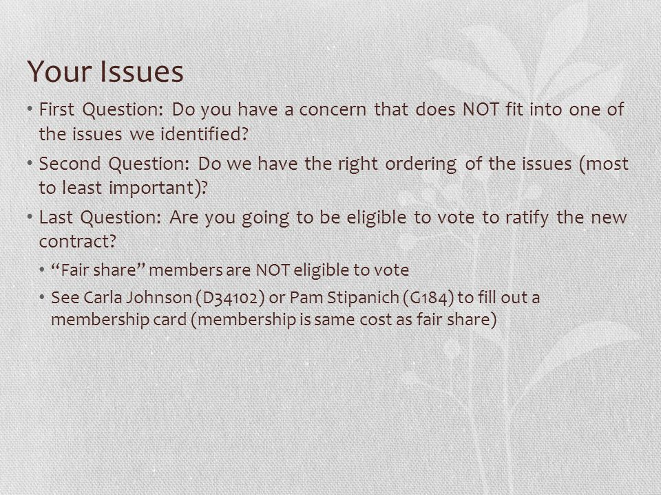 Your Issues First Question: Do you have a concern that does NOT fit into one of the issues we identified.