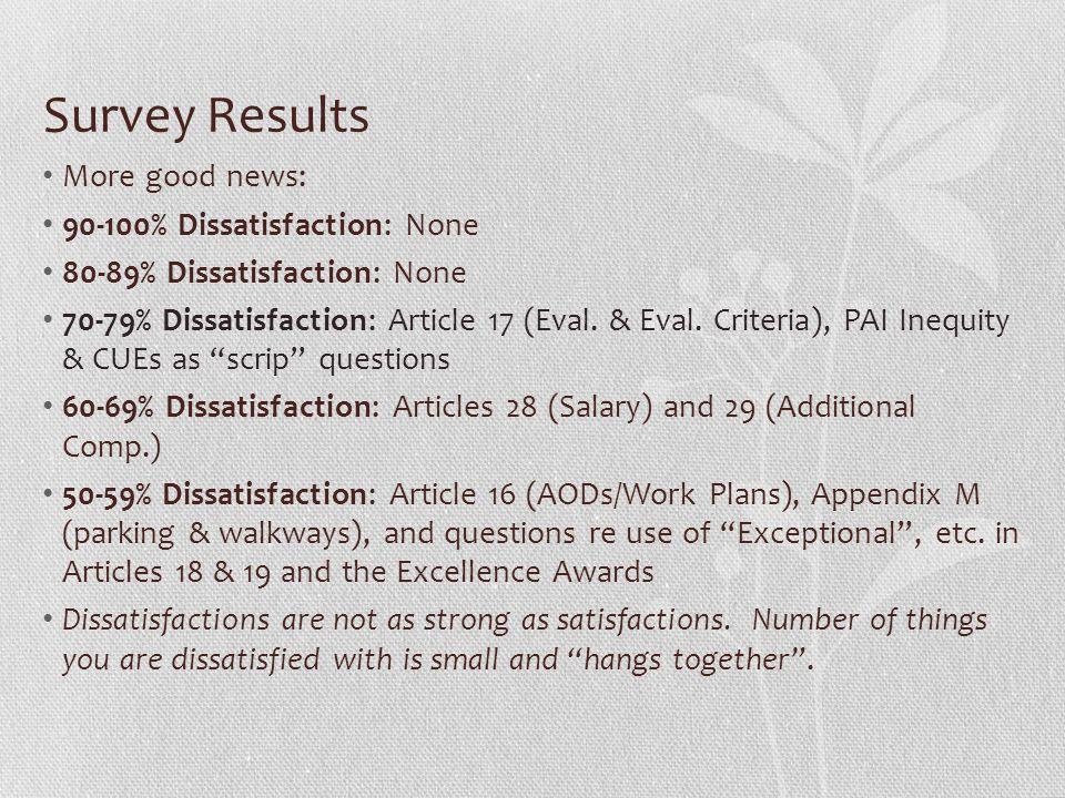 Survey Results More good news: 90-100% Dissatisfaction: None 80-89% Dissatisfaction: None 70-79% Dissatisfaction: Article 17 (Eval. & Eval. Criteria),