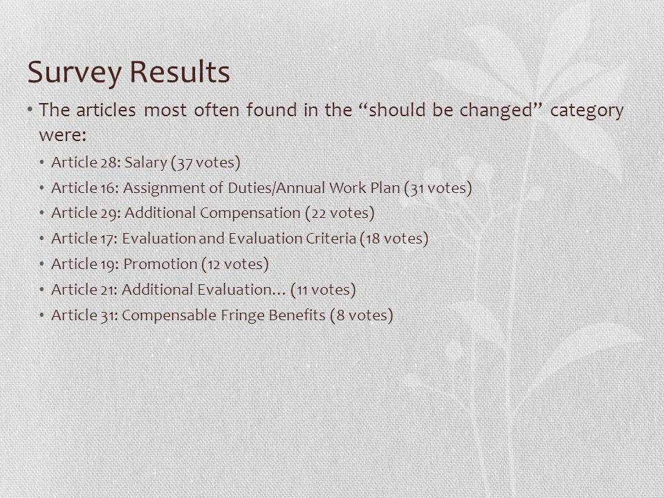 Survey Results The articles most often found in the should be changed category were: Article 28: Salary (37 votes) Article 16: Assignment of Duties/Annual Work Plan (31 votes) Article 29: Additional Compensation (22 votes) Article 17: Evaluation and Evaluation Criteria (18 votes) Article 19: Promotion (12 votes) Article 21: Additional Evaluation… (11 votes) Article 31: Compensable Fringe Benefits (8 votes)