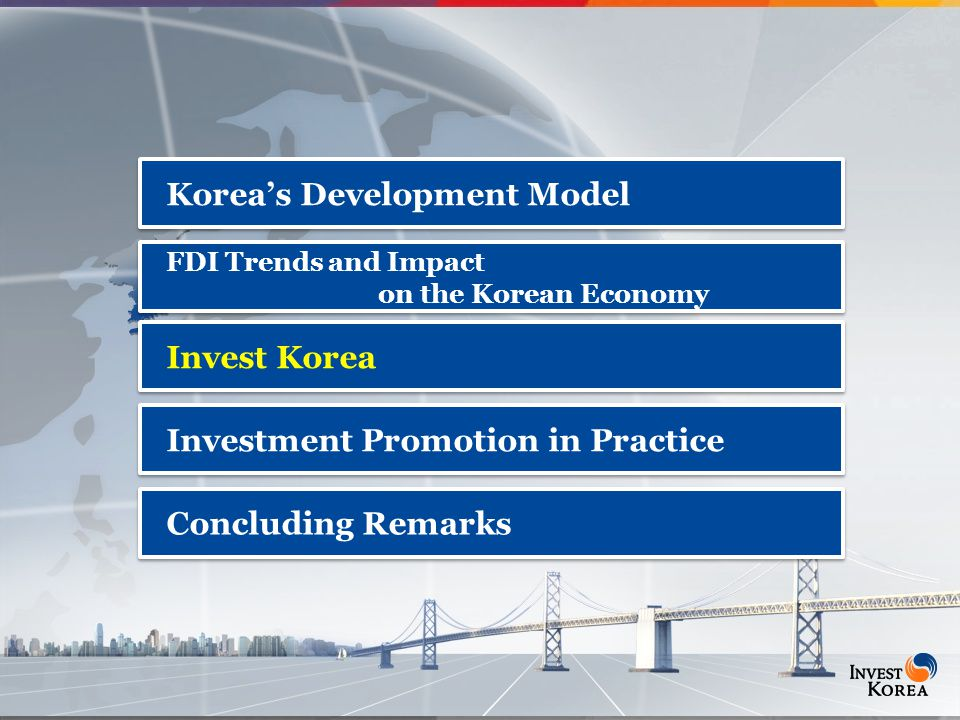 16 Korea's Development Model FDI Trends and Impact on the Korean Economy FDI Trends and Impact on the Korean Economy Invest Korea Investment Promotion in Practice Concluding Remarks