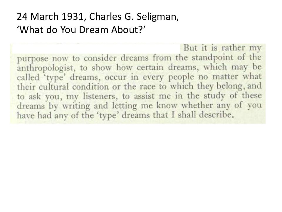 24 March 1931, Charles G. Seligman, 'What do You Dream About '