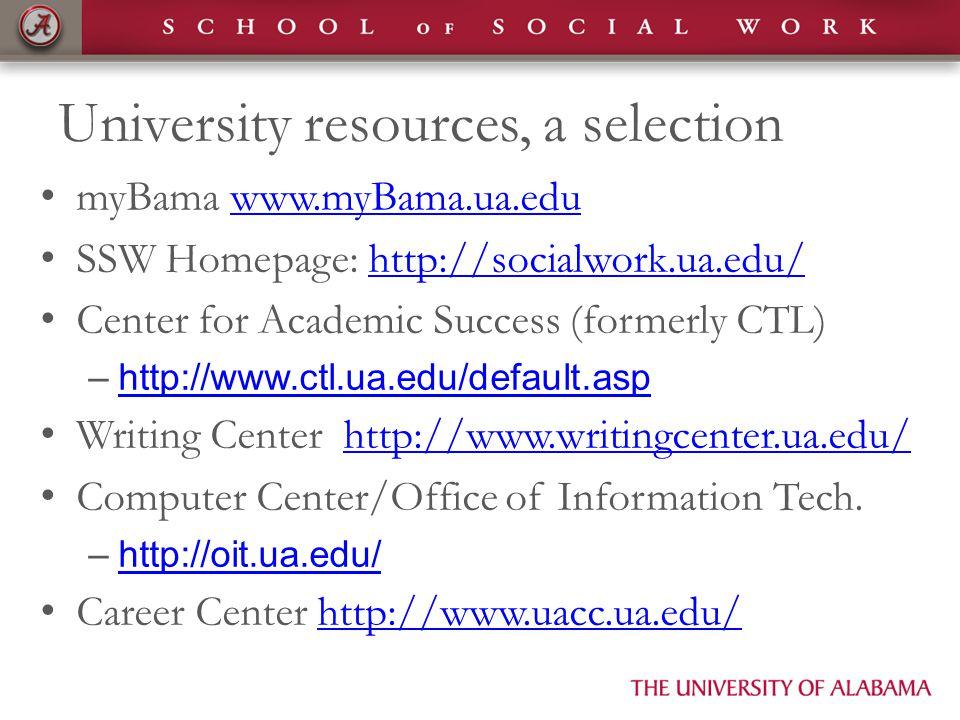 University resources, a selection myBama www.myBama.ua.eduwww.myBama.ua.edu SSW Homepage: http://socialwork.ua.edu/http://socialwork.ua.edu/ Center for Academic Success (formerly CTL) –http://www.ctl.ua.edu/default.asphttp://www.ctl.ua.edu/default.asp Writing Center http://www.writingcenter.ua.edu/http://www.writingcenter.ua.edu/ Computer Center/Office of Information Tech.