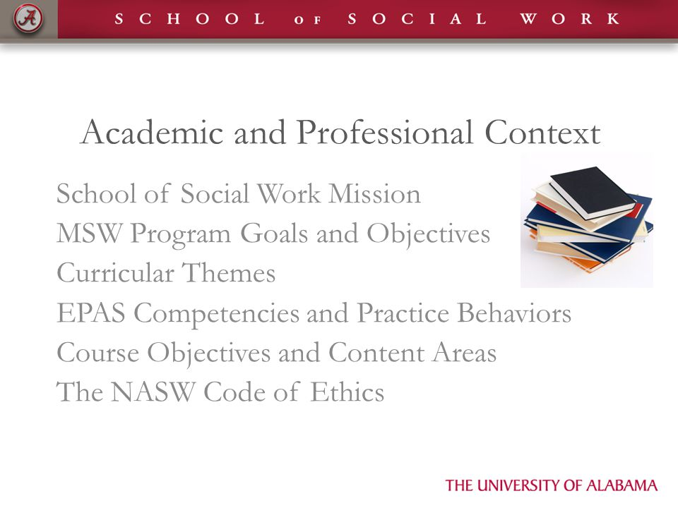 Academic and Professional Context School of Social Work Mission MSW Program Goals and Objectives Curricular Themes EPAS Competencies and Practice Beha