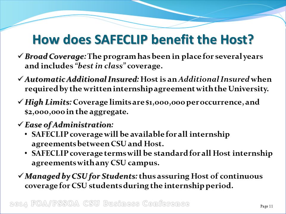 Page 11 How does SAFECLIP benefit the Host.