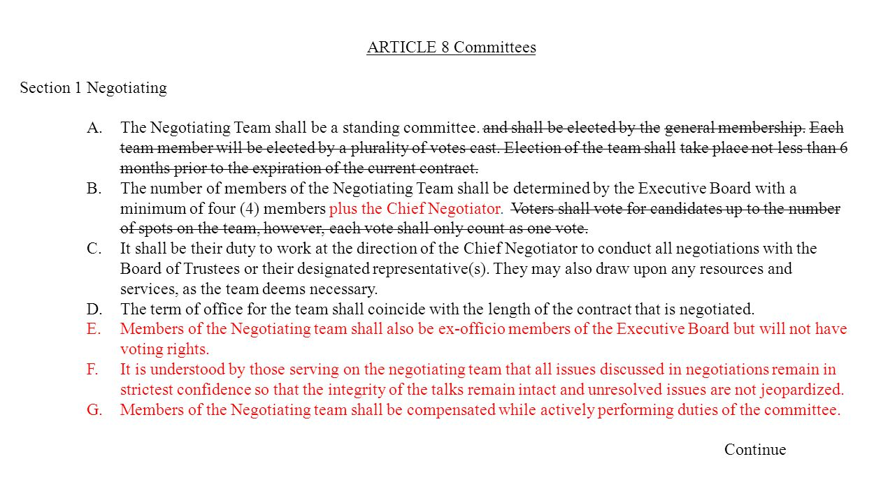 ARTICLE 8 Committees Section 1Negotiating A.The Negotiating Team shall be a standing committee.