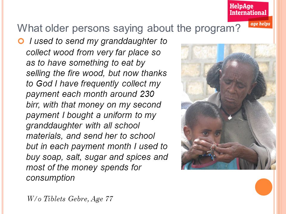 What older persons saying about the program.