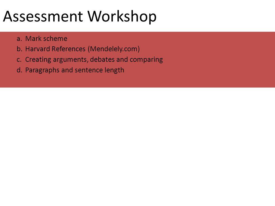 Assessment Workshop a.Mark scheme b.Harvard References (Mendelely.com) c.Creating arguments, debates and comparing d.Paragraphs and sentence length