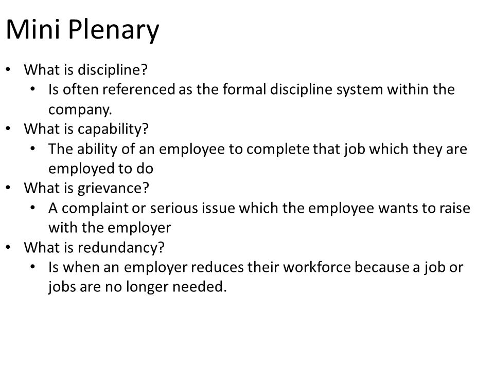 Mini Plenary What is discipline.