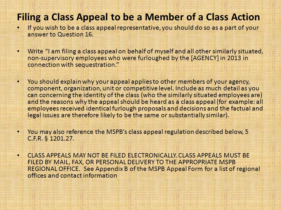 Filing a Class Appeal to be a Member of a Class Action If you wish to be a class appeal representative, you should do so as a part of your answer to Question 16.