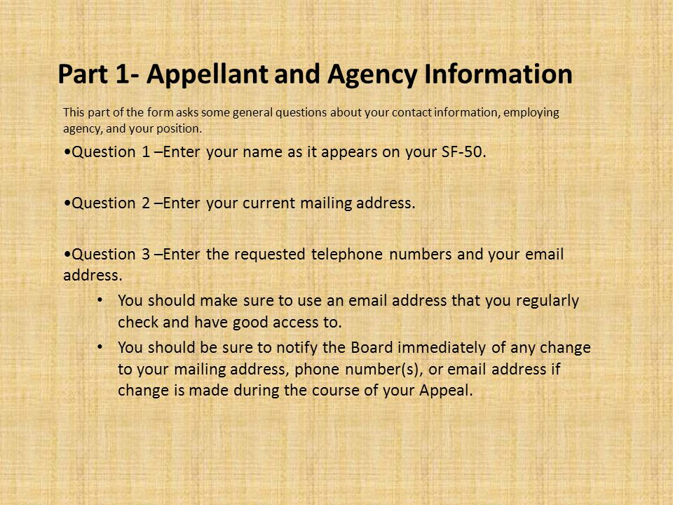 Part 1- Continued… Question 4 –Provide the name and address of your agency.